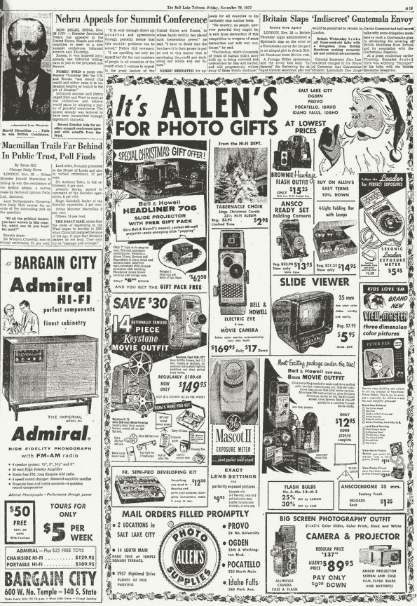 Allen's Camera Advertisement